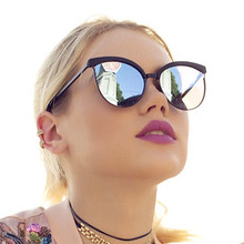 2017 Fashion Oversize Cateye Women Sunglasses Luxury Brand Sunglasses Women Mirror Cat Eye Reflect Ladies Sun Glasses Lunette