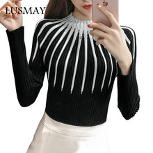New Fashion Striped Sweater Long Sleeve 2017 Autumn Winter Knitted Sweaters Women Pullover Basic Slim Casual Knitting Sweater(China)