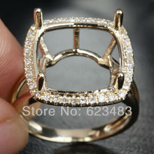 14mm CUSHION Cut 0.29ct H/SI . Solid 14K YELLOW GOLD PAVE Semi Mount RING