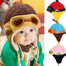 Baby Boys Winter Warm Cap Hat Beanie Pilot Crochet Earflap Hats baby soft Cotton cap christmas gifts 2017 New lowest price(China)
