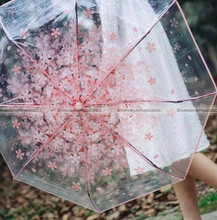 Transparent Clear Umbrella Cherry Blossom Mushroom Apollo Sakura 3 Fold Umbrella Pink 10016938