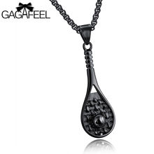 GAGAFEEL Men Pendant Necklace Three Colors Stainless Steel Tennis Racket Sports Style Europe Link Chain Jewelry Birthday Gift(China)