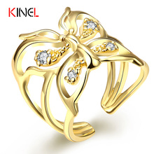 KineL Brand Fine Jewelry Butterfly Female Ring Fashion Gold Plated Animal Charm Rings Women Adjustable Set CZ Diamond Jewelry