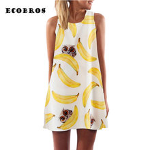 Buy ECOBROS 2017 New woman Summer chiffon Dress Casual sleeveless Loose print beach short dresses plus size woman clothing dress for $7.99 in AliExpress store