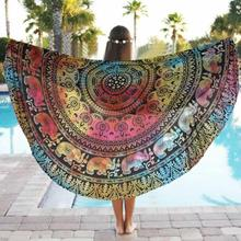 Yoga Mats Round Beach Pool Blanket Table Cloth Bohemia India Elephant Mandala Tapestry Bikini Cover Up