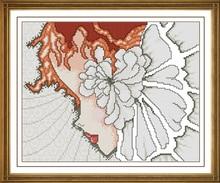 Fishxx вышивки крестом E190portrait [девушки цветка] леди Facebook цветок шип печати, 100% точным рисунком, 11CT, нужно вышивкой(China)