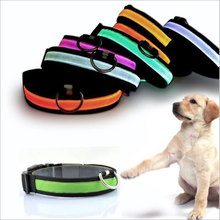 Pet supplies Dog Collar leather Nylon LED,Night Safe Flash Glowing in Dark Dog Belt / LED Light USB Charging Dogs Collar 8 Color
