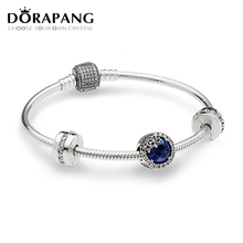 WJ 100% 925 Sterling Silver Dazzling Snowflake Charm Fit Bracelets Twilight Blue Crystals & Clear CZ Women Gift DIY Jewelry(China)