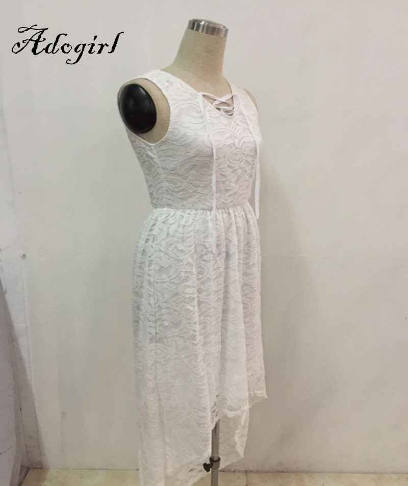 Adogirl 2017 Summer Sexy White Lace Plus Sizes 3XL 4XL Hi-Low Dresses-5