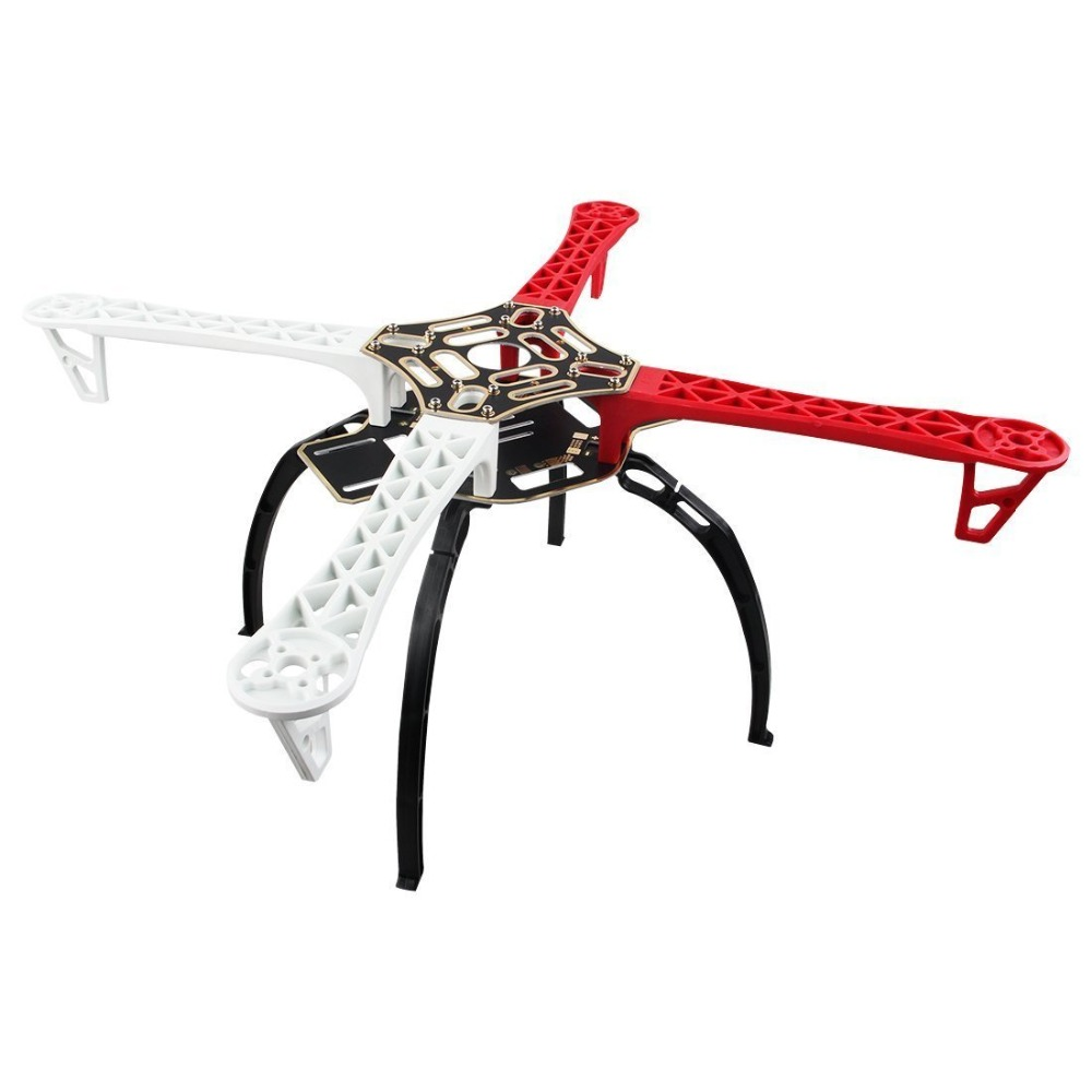 Weyland F450 Multi-Rotor Quadcopter Flame 4-Axis Airframe Frame (Red+White)+ Landing Skid Gear(Black) Wheel Rack Kit PFV(China)