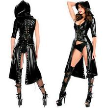 Buy 2016 New Arrival Sexy Gothic Punk Fetish Black Latex Catsuit Faux Leather Costume PU Jumpsuit