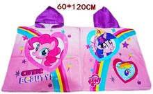 Cotton Pirate Printed Pattern Rainbow My little Pony Kid's Bath Towel Hooded Towel Cartoon Cloak Beach Towels for Childrens