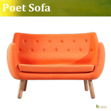 U-BEST Nordic lounge sofa chair Poet r sofa Finn Juhl Pelikan Chair 2 seater cloth sofa chair coffee shop loveseat sofa(China)