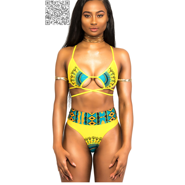 High Cut African Swimwear Women High Waist Bikini Set 17 Trible Print Thong Bikini Retro Bandage Swimsuit Ladies Swim Suit 4