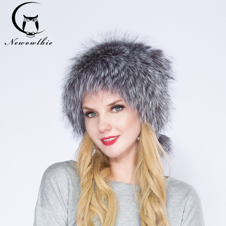 WNAORBM Real  Fox Fur Beatles Hat Women Hats  Silver Color Fashion Design Latest Winter Nature Fur Hats  Natural color, fox hat