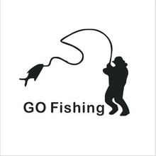 1PC White Black Cartoon Go Fishing Night Reflective Funny Car Stickers Window Decorations For Accessories Decoration Car Styling(China)