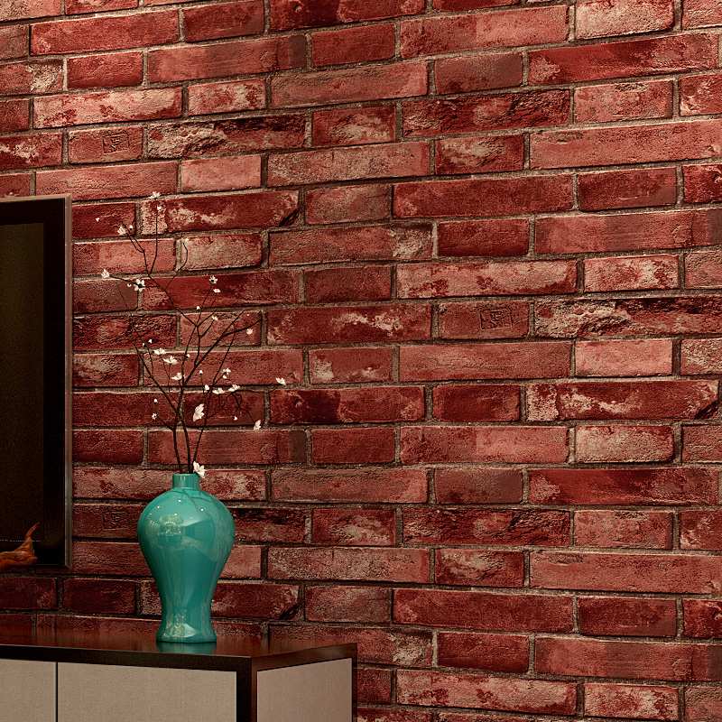 Vintage Cultural Brick Wallpapers 3D Effect Realistic Faux Shabby Red Brick Wall Wallpaper Waterproof PVC Wallpaper Roll for <br>