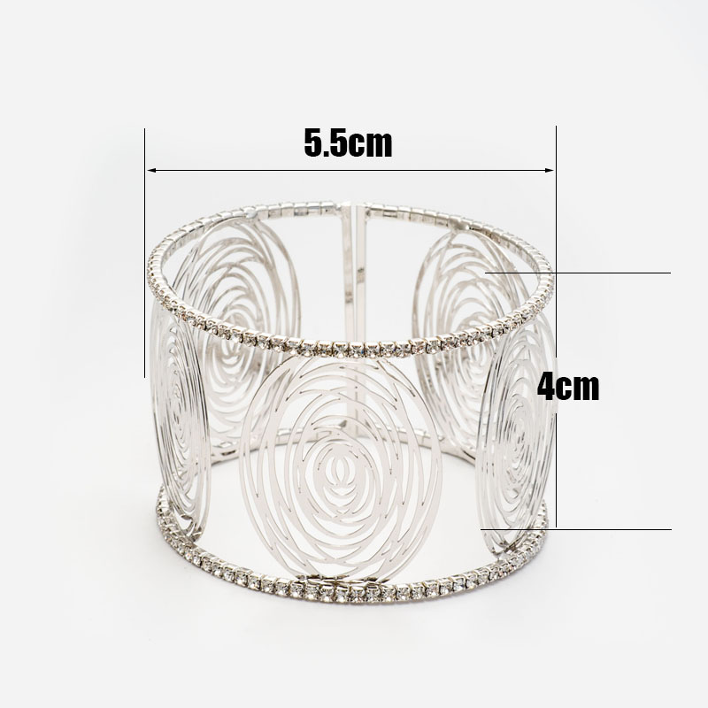 Fashion Wide Cuff Bracelets for Women Gold Color Metal Sparkly Crystal Rhinestone Round Flower Open Bangle Bracelet (4)