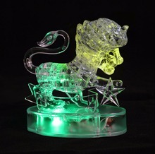 Coolplay Leo 3D Crystal Puzzles Toys Lion Horoscope puzzleJigsaw Toys DIY Transparent flash Model Educational toys for children