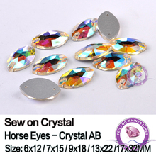sew on crystals crystal AB crystals 7X15mm horse eye shaped 2 holes 288pcs can be sewed on garment Free shipping CPAM(China)