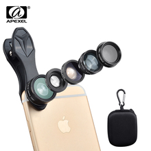 5 in 1 Phone Lens Kit, APEXEL 198 Degree Fish eye /0.63X Wide Angel /15X Macro /Telescope /CPL Lens/ for iPhone 7 plus Android
