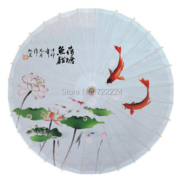 Free shipping dia 84cm chinese handmade craft oiled paper umbrella lotus  with fish waterproof parasol dance props umbrella<br>