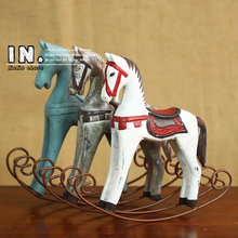 Zakka Creative Retro Wooden Rocking Horse Ornaments Animal Gift Vintage Study Store Home Decor Statuette Wood Crafts Figurines(China)