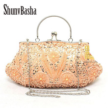 New 2016 Fashion Beaded bag Female  Evening Bag Luxury Finger Clutch Purse Wedding Party Bag With Chain Six Color Free shipping