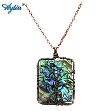2017 Latest Ayliss Vintage Handmade Copper Wire Wrapped Tree of life Natural Abalone Shell Pendant Necklace Mothers Day Gifts