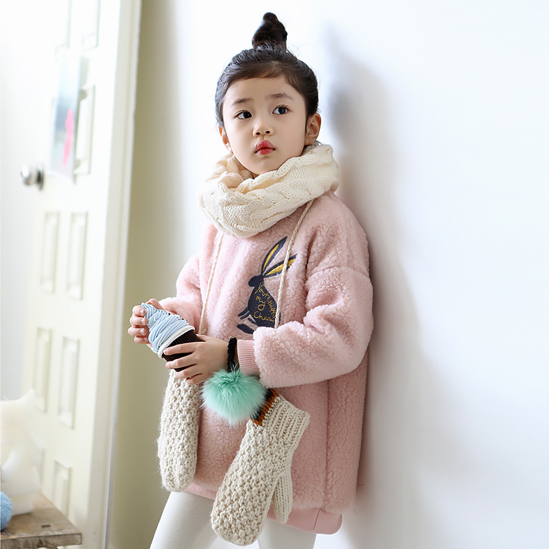 2017 Top Fashion Pouplar Winter Girl Jackets Rabbit Cartoon Thickening Very Warm Artificial Lambswool Children Clothing Kid <br>