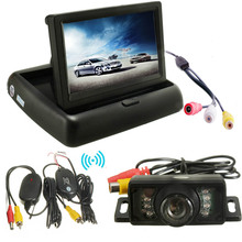 Wireless Car Parking Assistance System 4.3 Inch Foldable Car Monitor Night Vision CCD Waterproof RearView Camera