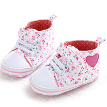 Pink Lace-up Canvas Princess Baby Girl First Walkers Newborn Floral Antislip Casual Footwear Shoes Heart Pattern Sneakers(China)