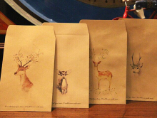 80pcs - 4 Retro Deer Style Small Kraft Bitty Bags Envelopes Chinese Wash Painting Deer Party Paper Bag Favor Bags