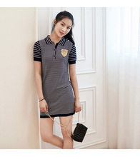 Beading Badge Stripe Polo Dress 2017 Spring Summer Fashion Cotton Tencle Knitted Short Sleeve Short Dress New Robe Mujer 2017
