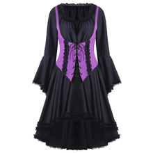 CharMma 2017 New Fashion Halloween Two Tone Lace Up Dress Women Gothic A Line Mid Calf Long Sleeve Party Dress Female(China)