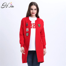 H.SA 2017 Women Long Sweater Cardigans Appliques Letters Casual Sweaters Spring Autumn Long Coat Plus Size Loose Cardigans Femme