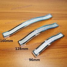 Hole Pitch 96mm/128mm/160mm silvery colored crystal furniture handle/ drawer pull/ knob/kitchen cabinet handle