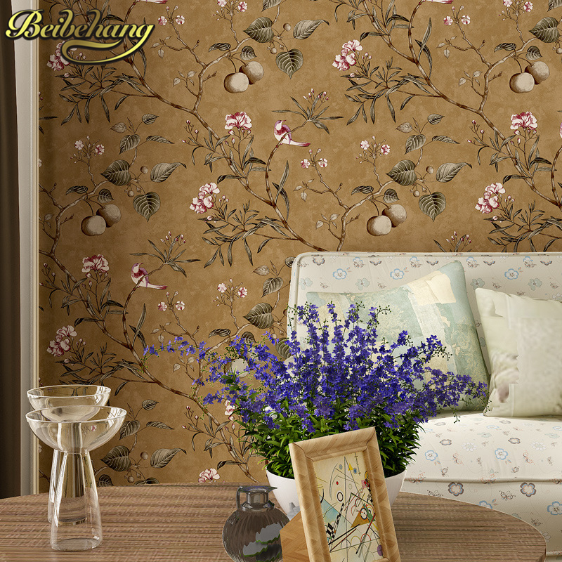 beibehang American retro apple tree bird bird wallpaper bedroom living room background nonwoven pure paper pastoral wallpaper<br>