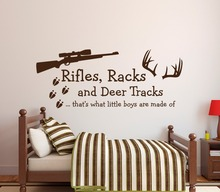 Rifles Racks & Deer Tracks Boys Wall Decal - Kids Room Decor Wall Sticker - Hunting Theme Vinyl Mural for Kids Boys like W-15