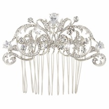 Bella Fashion Vintage Style Bridal Hair Comb Zircon Flower Hairpin Crystal Wedding Accessories for Women(China)