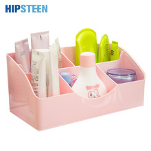 HIPSTEEN Korean Heart 5 Lattice Plastic Makeup Cosmetics Storage Box Desk Table Organizer Case - Random Color(China)