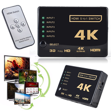 Mini 3D 1080p 5Port 4K HDMI Switch Switcher Selector Splitter Hub +IR Remote For HDTV