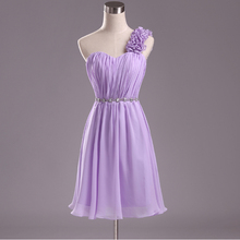 light purple lilac chiffon knee length bridesmaid dresses bride made dress party elegant short one shoulder sexy gown D1951