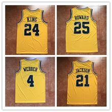 #4 Chris Webber #25 Juwan Howard #24 Jimmy King #21 Ray Jackson Michigan Wolverines College Basketball Jersey Stitched(China)