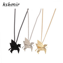 kshmir contracted Origami animal short black horse necklace collarbone stereo necklace women adorn article