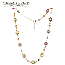 Neoglory MADE WITH SWAROVSKI ELEMENTS Crystal Long Charm Necklace Classic Colorful Round Beads Exquisite Two Uses For Lady Gift