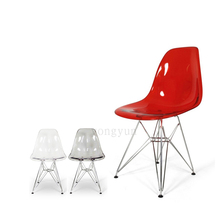 Acrylic Transparent Plastic Chair Cafe Leisure Modern chromed steel leg Colored Restaurant Moderne Stoel dining chair