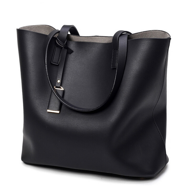 2017 High quality women handbag Microfiber leather ladies big tote bag black blue grey female large shoulder bag shopping bag<br>
