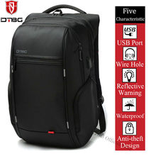 DTBG 15.6 17.3 Inch Waterproof Laptop Backpack Men Women Travel Party Backpack College Student Rucksack Bag with USB Charge Port