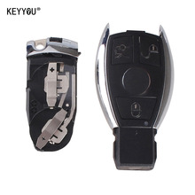KEYYOU 3 BUTTONS FOR MERCEDES For BENZ SMART KEY FOB REMOTE SHELL CHROME CASE S SL ML SLK CLK E Holder Insert Key With Logo
